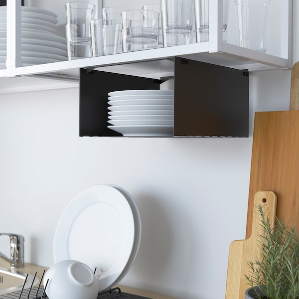 ENHET Kitchen, white/grey frame, 243x63.5x222 cm