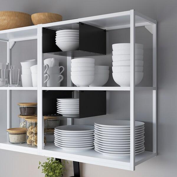 ENHET Kitchen, white/grey frame, 223x63.5x222 cm