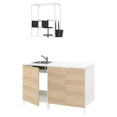 ENHET Kitchen, white/oak effect, 143x63.5x222 cm