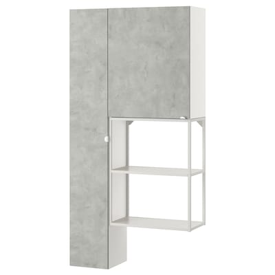 ENHET Storage combination for laundry, white/concrete effect, 90x30x180 cm