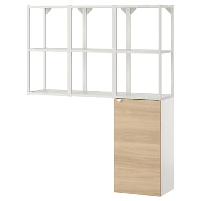 ENHET Storage combination for laundry, white/oak effect, 120x30x150 cm