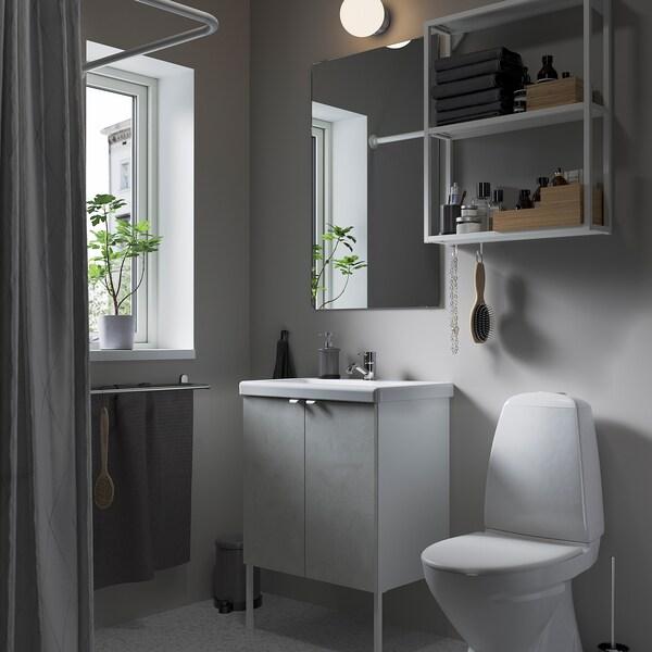 ENHET / TVÄLLEN Bathroom furniture, set of 11, concrete effect/white Pilkån tap, 64x43x87 cm