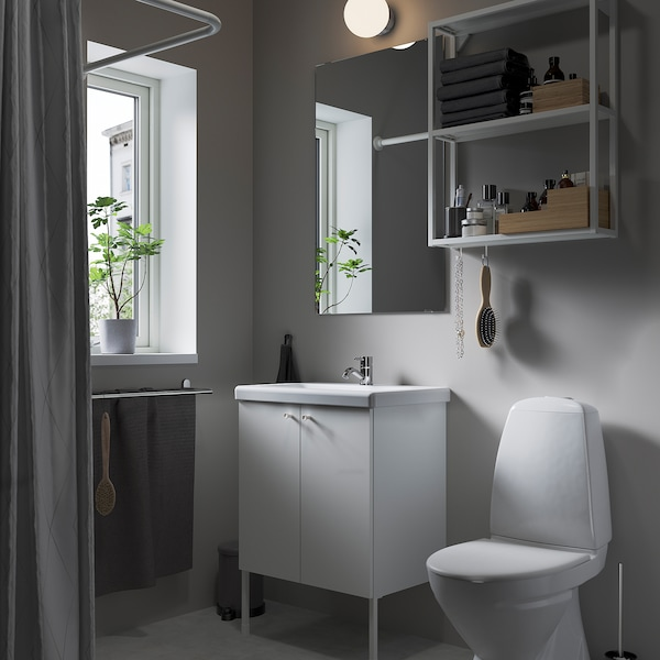 ENHET / TVÄLLEN Bathroom furniture, set of 11, white/Pilkån tap, 64x43x87 cm