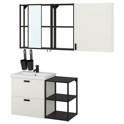 ENHET / TVÄLLEN Bathroom furniture, set of 18, white/anthracite Saljen tap, 102x43x65 cm