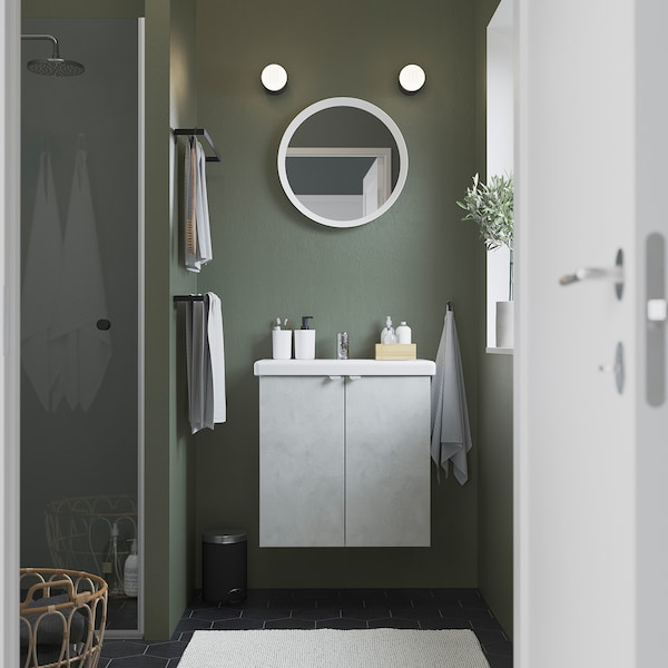 ENHET / TVÄLLEN Wash-basin cabinet with 2 doors, concrete effect/white Pilkån tap, 64x43x65 cm