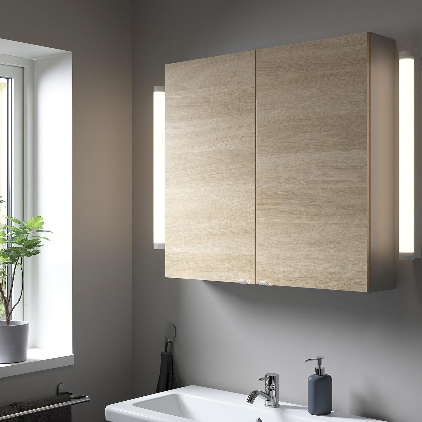 ENHET Wall cb w 2 shlvs/doors, grey/oak effect, 80x17x75 cm