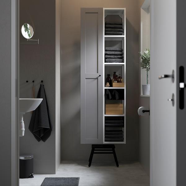 ENHET تشكيلة تخزين حائطية, أبيض/رمادي هيكل, 60x30x180 سم