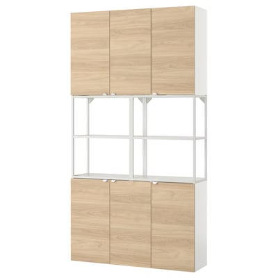 ENHET Wall storage combination, white/oak effect, 120x30x225 cm