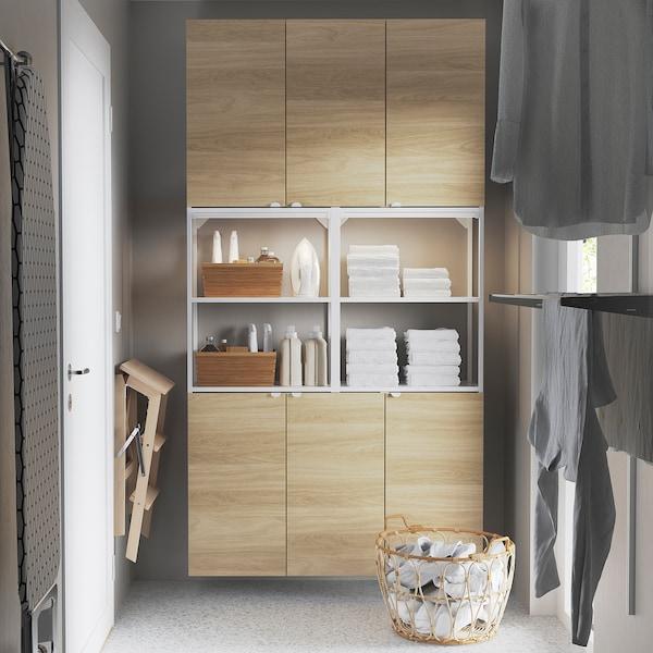 ENHET تشكيلة تخزين حائطية, أبيض/شكل السنديان, 120x30x225 سم
