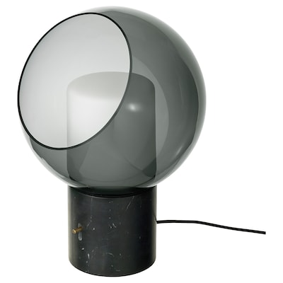 EVEDAL Table lamp, marble/grey globe