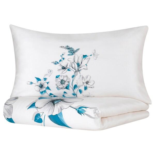 FÄLTVEDEL Duvet cover and pillowcase, white/floral patterned, 150x200/50x80 cm