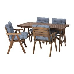FALHOLMEN table+4 chairs w armrests, outdoor, grey-brown light brown stained, Ytterön blue