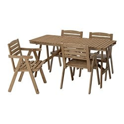 FALHOLMEN table+4 chairs w armrests, outdoor, light brown stained grey-brown