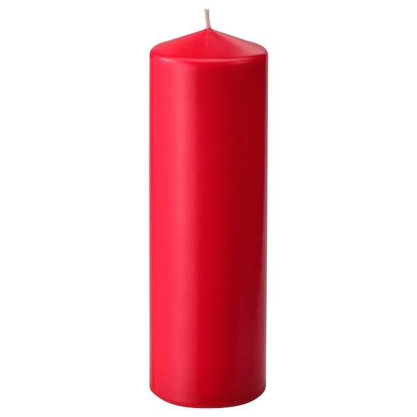 FENOMEN Unscented block candle, red, 25 cm