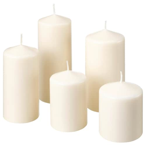 IKEA FENOMEN Unscented block candle, set of 5