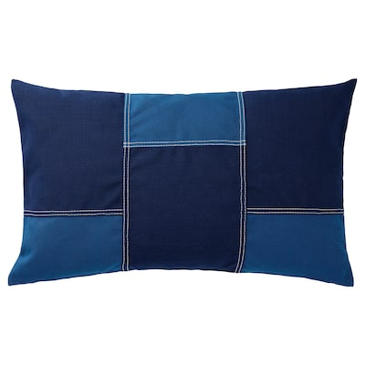 FESTHOLMEN غطاء وسادة، داخلي/خارجي, أزرق/أزرق غامق, 40x65 سم