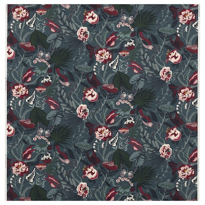 FILODENDRON Fabric, dark blue/floral patterned, 150 cm