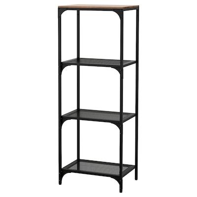 FJÄLLBO Shelving unit, black, 51x136 cm