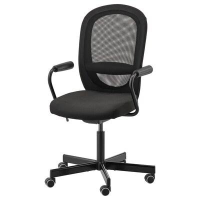 FLINTAN / NOMINELL كرسي مكتب بمساند ذراعين, أسود
