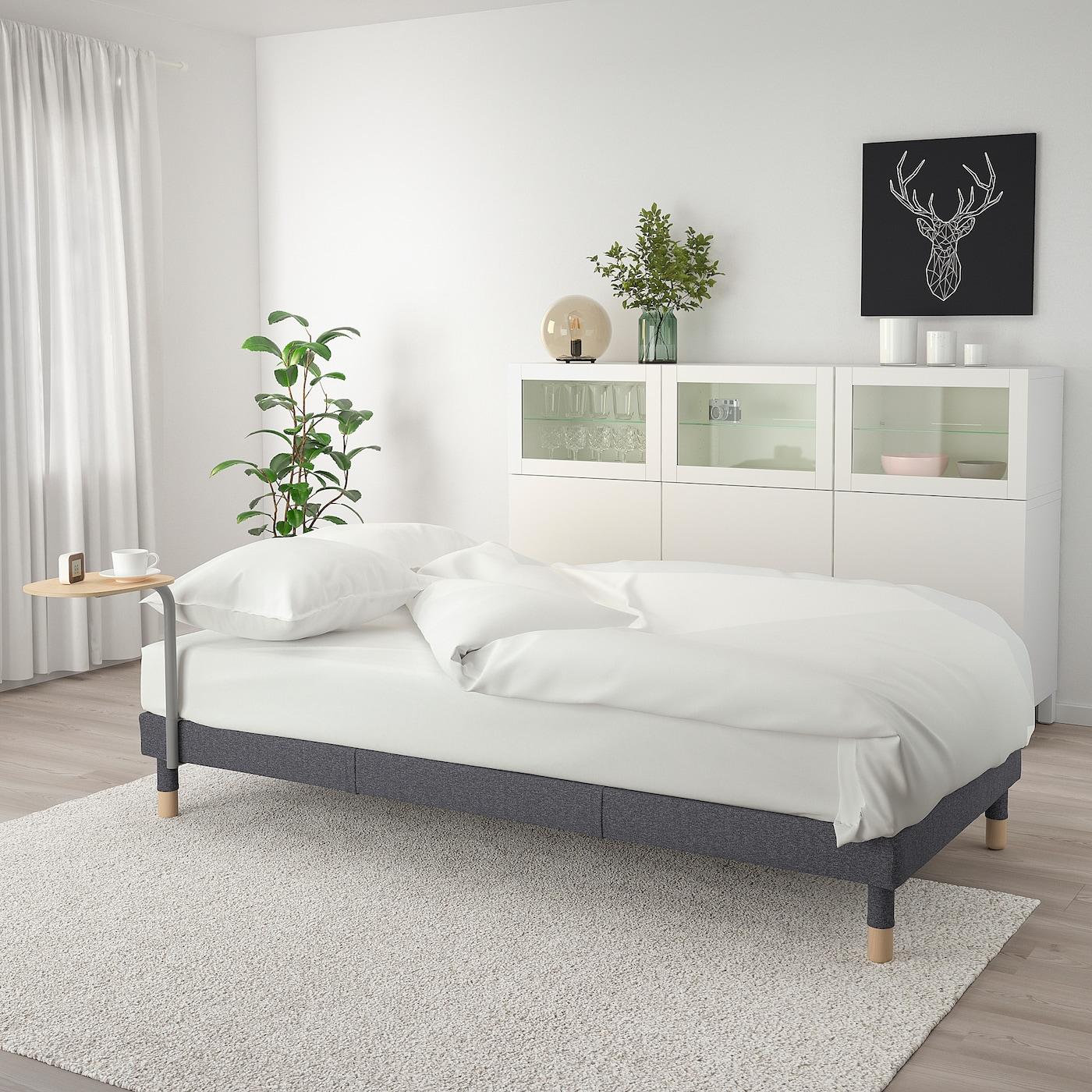 FLOTTEBO Sofa-bed with side table - Gunnared medium grey 3 cm