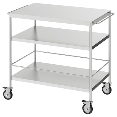 FLYTTA Kitchen trolley, stainless steel, 98x57 cm