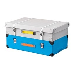 FLYTTBAR trunk for toys, turquoise
