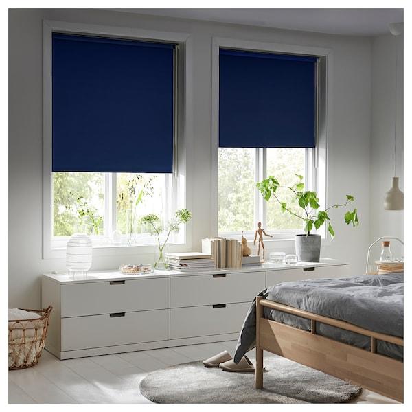 FRIDANS Block-out roller blind, blue, 60x195 cm