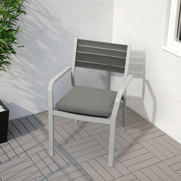 FRÖSÖN/DUVHOLMEN Chair cushion, outdoor, dark grey, 44x44 cm