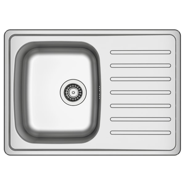 FYNDIG 1 bowl inset sink with drainer, stainless steel, 70x50 cm