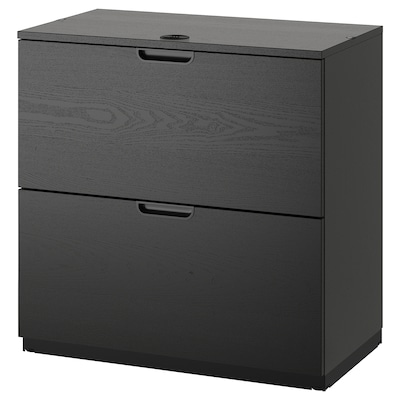GALANT Drawer unit with drop-file storage, black stained ash veneer, 80x80 cm