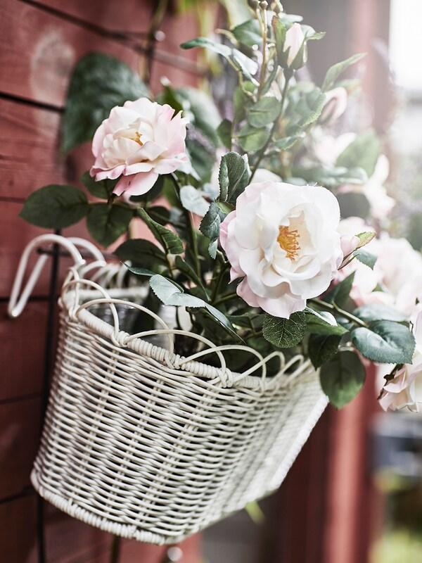 GALIAMELON Flower box with holder, in/outdoor white, 51x18 cm