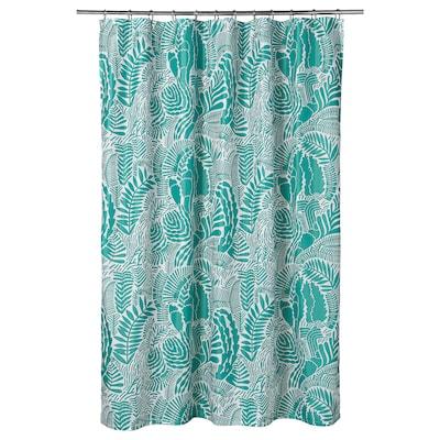 GATKAMOMILL Shower curtain, turquoise/white, 180x200 cm