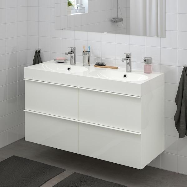 GODMORGON / BRÅVIKEN Wash-stand with 4 drawers, high-gloss white/Brogrund tap, 120x48x68 cm