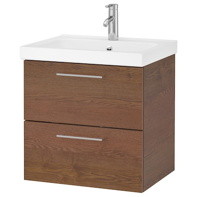 GODMORGON / ODENSVIK Wash-stand with 2 drawers, brown stained ash effect/Dalskär tap, 63x49x64 cm