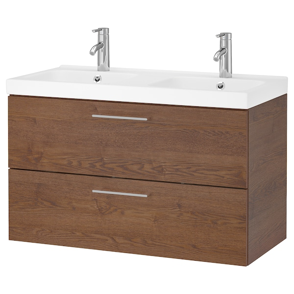 GODMORGON / ODENSVIK Wash-stand with 2 drawers, brown stained ash effect/Dalskär tap, 103x49x64 cm