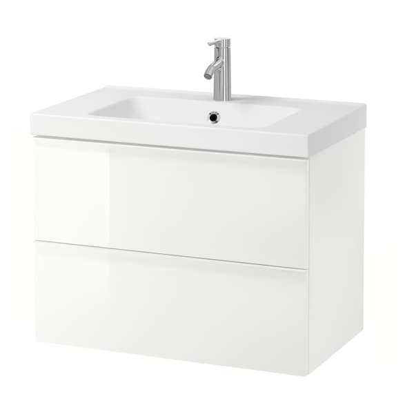 GODMORGON / ODENSVIK Wash-stand with 2 drawers, high-gloss white/Dalskär tap, 83x49x64 cm