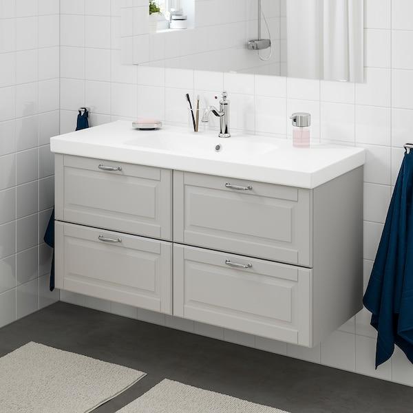 GODMORGON / ODENSVIK Wash-stand with 4 drawers, Kasjön light grey/Hamnskär tap, 123x49x64 cm
