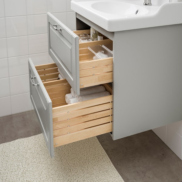 GODMORGON / RÄTTVIKEN Wash-stand with 2 drawers, Kasjön light grey/Hamnskär tap, 62x49x68 cm