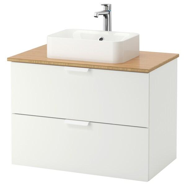 GODMORGON/TOLKEN / HÖRVIK Wsh-stnd w countrtop 45x32 wsh-bsn, white/bamboo Brogrund tap, 82x49x72 cm