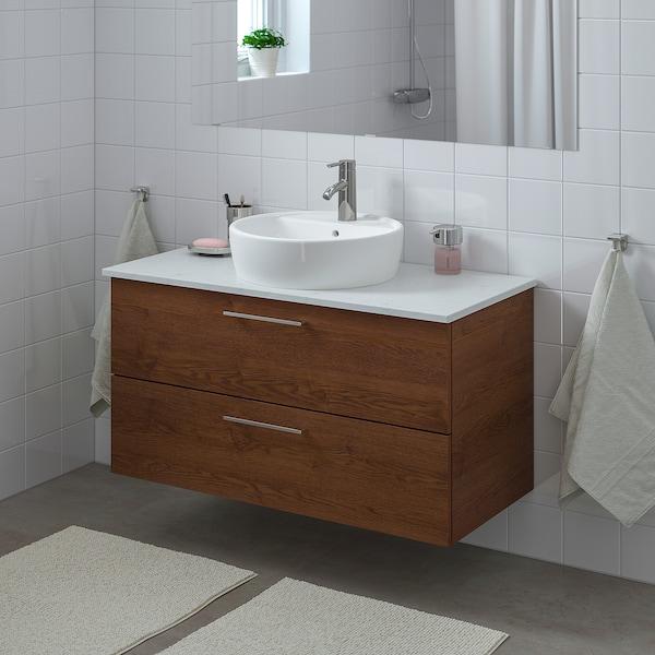 GODMORGON/TOLKEN / TÖRNVIKEN Wsh-stnd w countertop 45 wsh-basin, brown stained ash effect/marble effect Dalskär tap, 102x49x74 cm