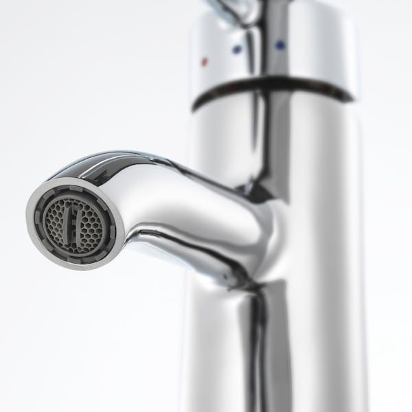 GODMORGON/TOLKEN / TÖRNVIKEN Wsh-stnd w countertop 45 wsh-basin, high-gloss white/bamboo Dalskär tap, 122x49x74 cm