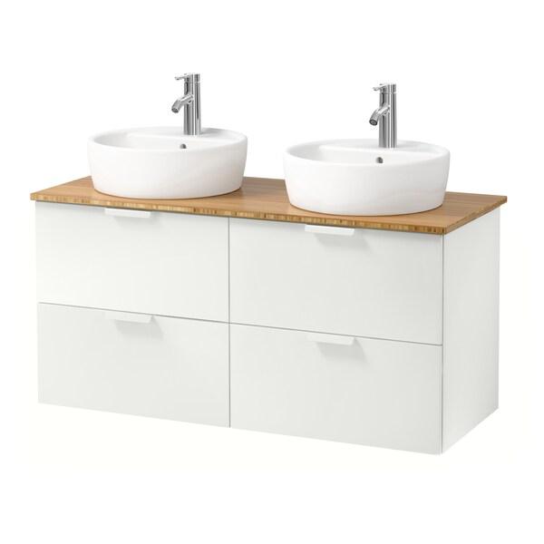GODMORGON/TOLKEN / TÖRNVIKEN Wsh-stnd w countertop 45 wsh-basin, white/bamboo Dalskär tap, 122x49x74 cm