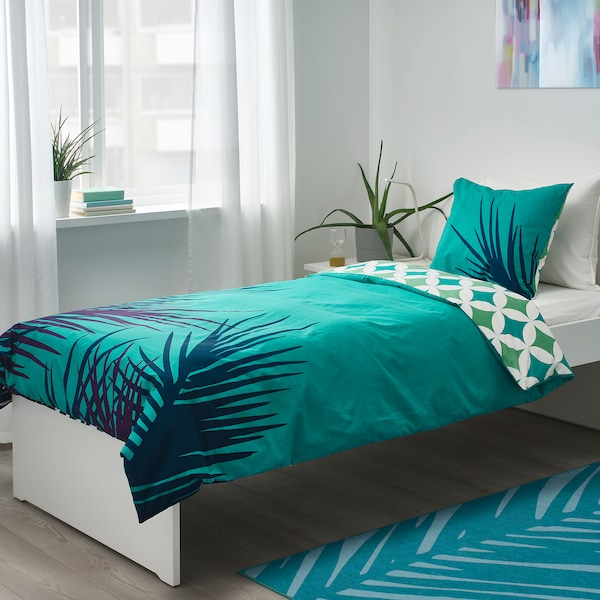 GRACIÖS Quilt cover and pillowcase, tile pattern/turquoise, 150x200/50x80 cm