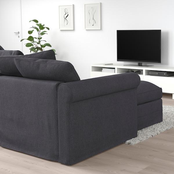 GRÖNLID كنبة سرير 3 مقاعد مع أريكة طويلة, Sporda رمادي غامق