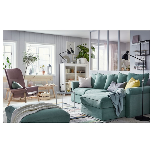 GRÖNLID كنبة 3 مقاعد, مع أريكة طويلة/Ljungen أخضر فاتح