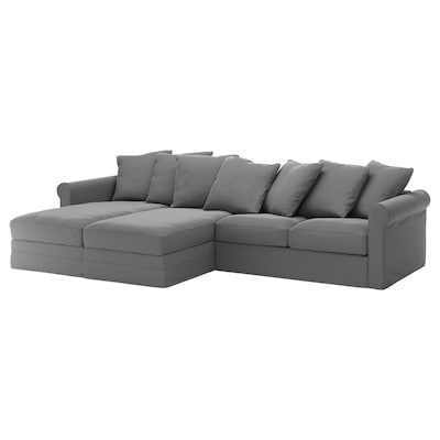 GRÖNLID 4-seat sofa, with chaise longues/Ljungen medium grey