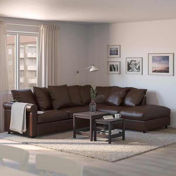 GRÖNLID Corner sofa-bed, 4-seat, with open end/Kimstad dark brown