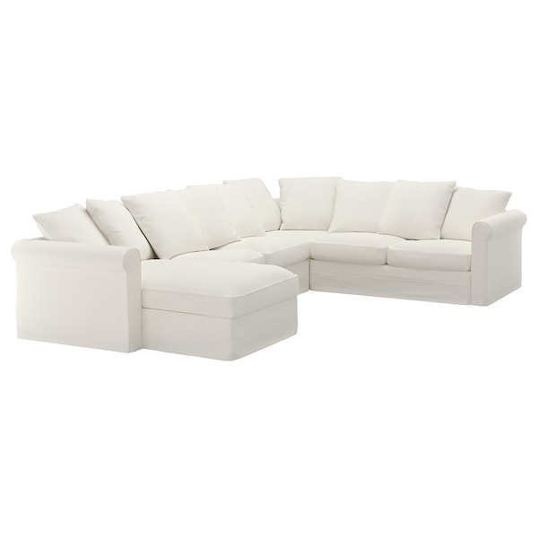 GRÖNLID Cover for corner sofa, 5-seat, with chaise longue/Inseros white