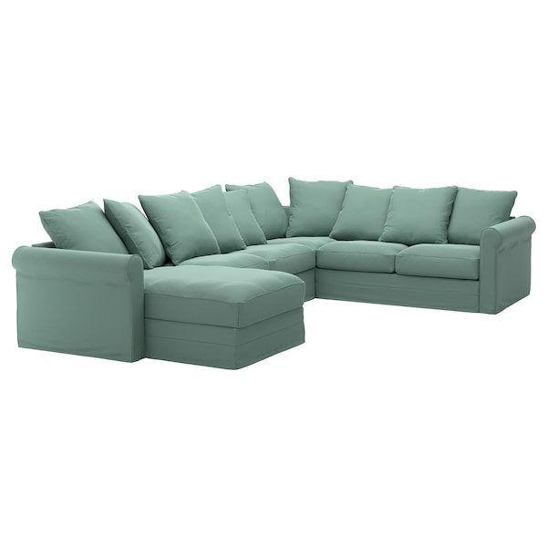 GRÖNLID Cover for corner sofa, 5-seat, with chaise longue/Ljungen light green