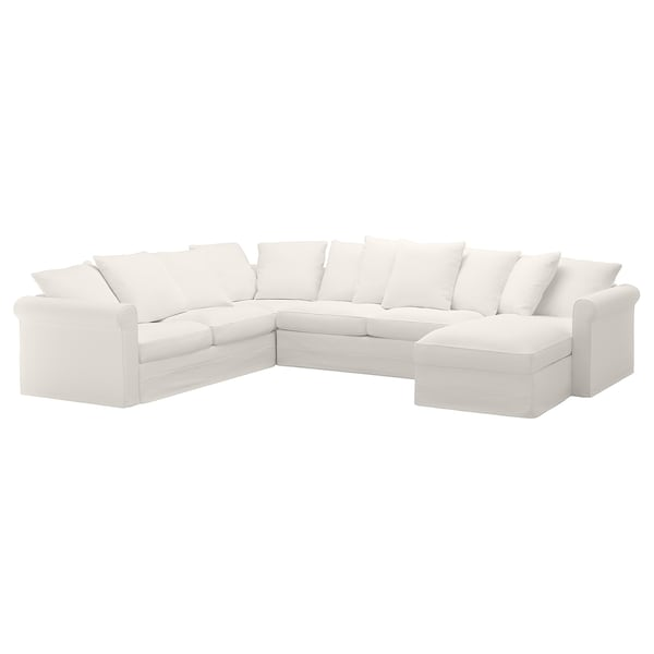 GRÖNLID كنبة سرير 5 مقاعد مع أريكة طويلة, Inseros أبيض